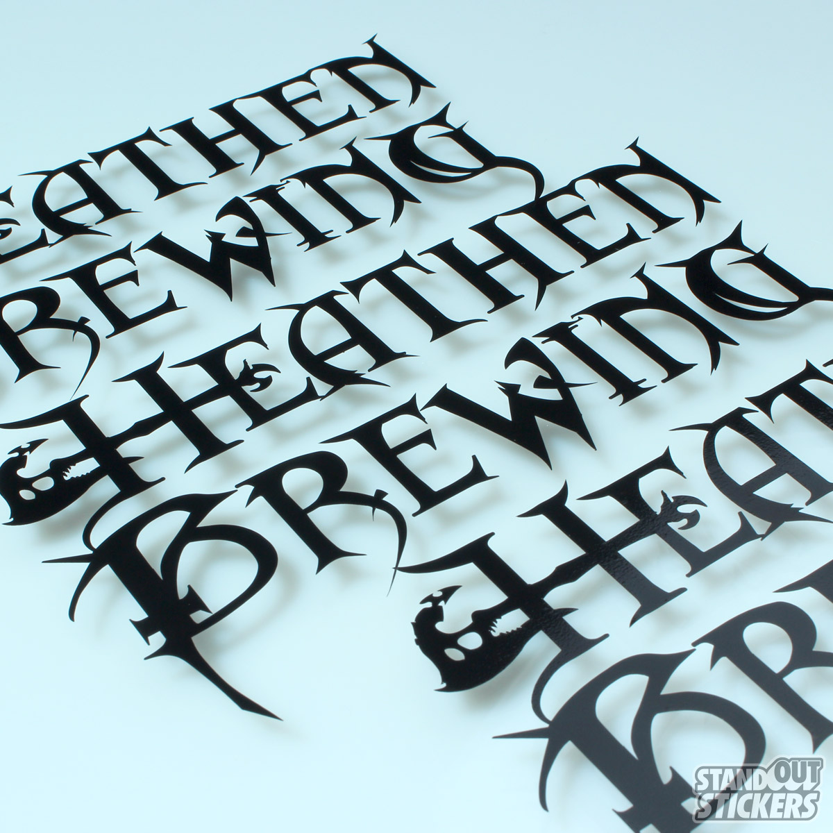 Heathen brewing cut vinyl decals in black