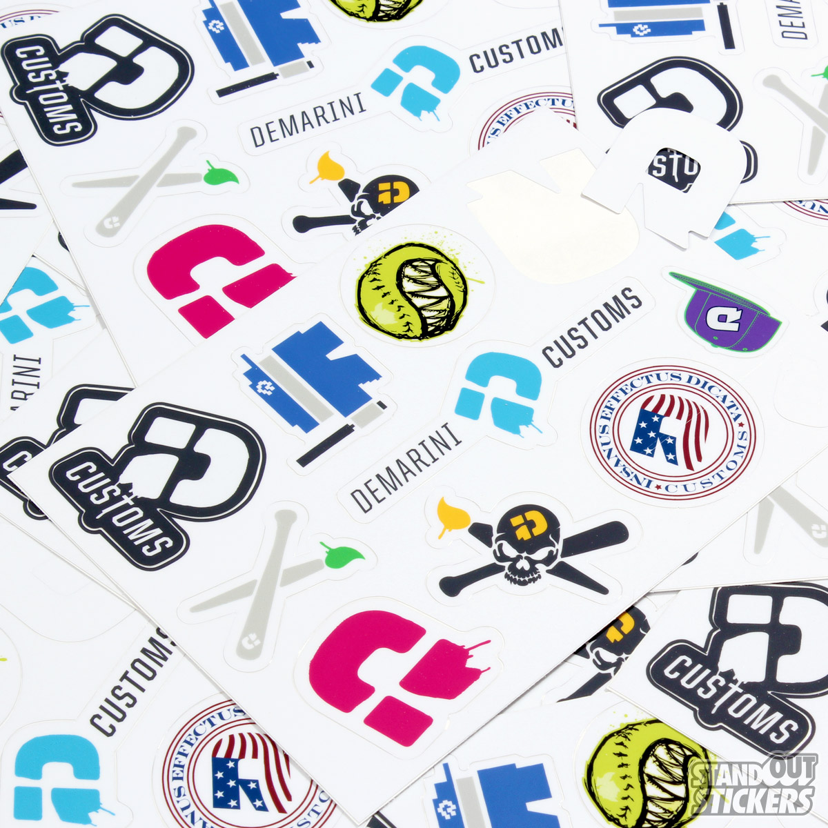 Demarini baseball kiss cut custom sticker sheets